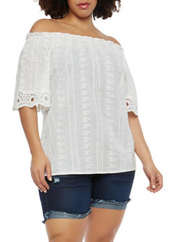 Plus Size Eyelet Off the Shoulder Top - 8406064464748
