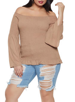 Plus Size Smocked Off the Shoulder Top - 8406064467512