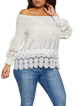 Plus Size Smocked Off the Shoulder Babydoll Top - 8406064469301