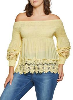 Plus Size Smocked Off the Shoulder Babydoll Top - 8406064469301