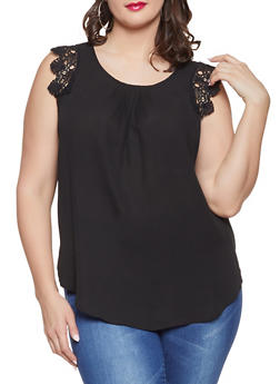 Plus Size Sleeveless Crochet Trim Blouse - Black - Size 1X - 8406072685111