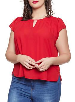 Plus Size Cap Sleeve Blouse - 8406072685180