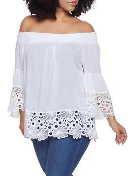 Plus Size Off the Shoulder Crochet Trim Top - 8406074012537
