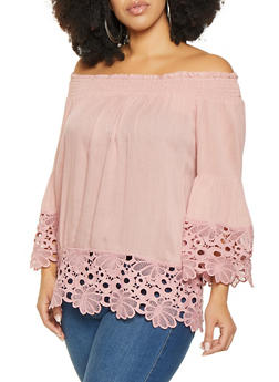 Plus Size Off the Shoulder Crochet Trim Top - 8406074012537