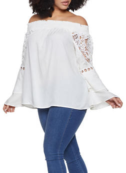 Plus Size Off the Shoulder Crochet Insert Peasant Top - 8406074017753