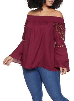 Plus Size Off the Shoulder Crochet Insert Peasant Top - 8406074017753