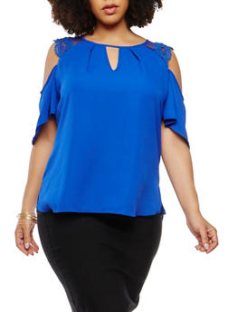Plus Size Cold Shoulder Crepe Knit Top - 8406074091205