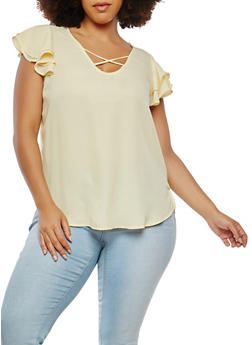 Plus Size Crepe Knit Flutter Sleeve Top - 8406074091259
