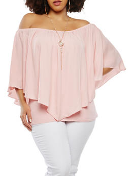 Plus Size Off the Shoulder Overlay Top with Necklace - 8406074091263