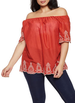 Plus Size Embroidered Trim Off the Shoulder Top - 8406074730308
