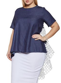 Plus Size Crochet Insert High Low Top - 8406074731161