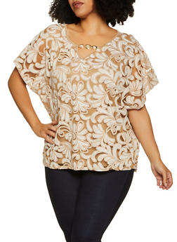 Plus Size Printed Mesh Overlay Top - 8406074733121