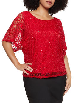 Plus Size Sequin Detail Top - 8406074733235