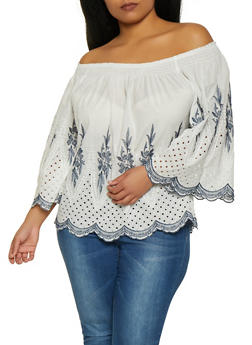 Plus Size Embroidered Off the Shoulder Top - 8406074734092