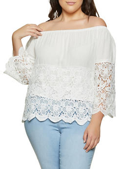 Plus Size Crochet Off the Shoulder Peasant Top - 8406074738799