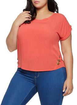 Plus Size Short Sleeve Button Detail Top - 8406074739192