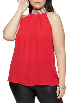Plus Size Rhinestone Mock Neck Blouse - 8406075220981