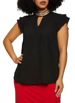 Plus Size Druzy Chain Mock Neck Blouse - 8406075221520