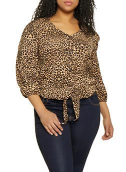 Plus Size Leopard Print Tie Button Front Top - 8407020621672