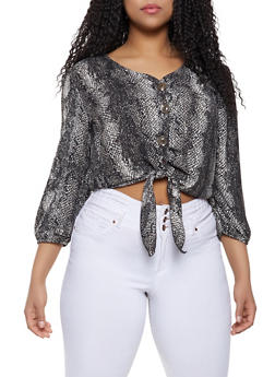 Plus Size Snake Print Tie Front Blouse - 8407020622672
