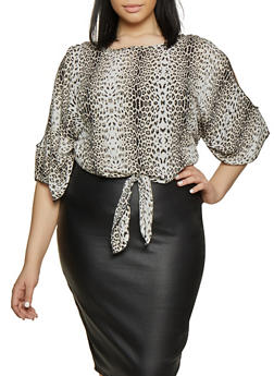 Plus Size Animal Print Tops