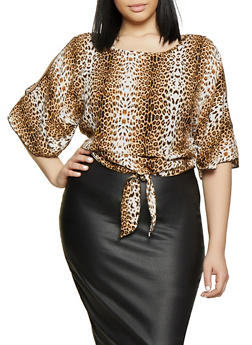 Plus Size Animal Print Cut Out Sleeve Top - 8407020623522