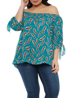Plus Size Feather Print Off the Shoulder Top - 8407020624605