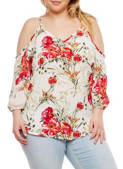 Plus Size Floral Cold Shoulder Top - 8407020624673