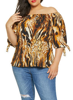 Plus Size Leopard Print Off the Shoulder Top - 8407020625226