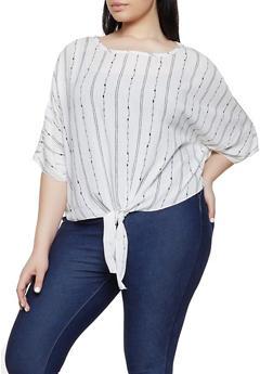Plus Size Stripe Print Cut Out Sleeve Top - 8407020625261