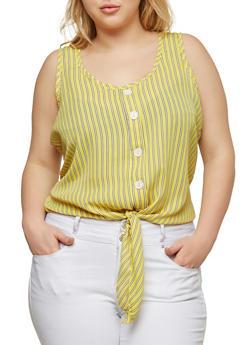 Plus Size Striped Tie Front Top - 8407020625333