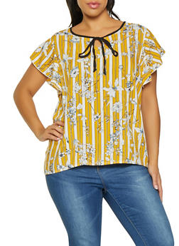 Plus Size Floral Striped Tie Neck Top - 8407020626375