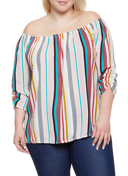 Plus Size Striped Ruched Sleeve Off the Shoulder Top - 8407020626693