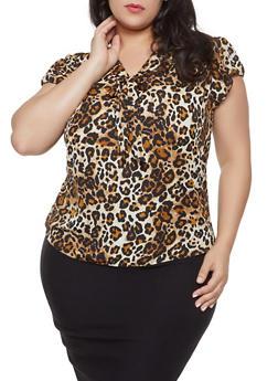 Plus Size Leopard Tie Front Blouse - 8407020628733