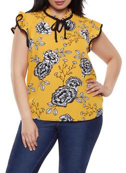 Plus Size Flower Crepe Knit Blouse - 8407020628822