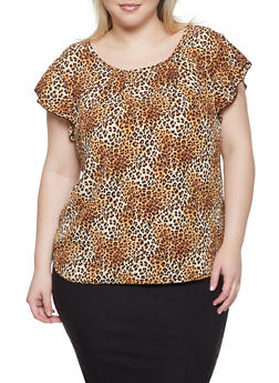 Plus Size Leopard Print Top - 8407020628973