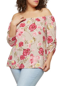 Plus Size Ruched Sleeve Off the Shoulder Top - 8407020629356