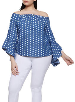 Plus Size Denim Polka Dot Off the Shoulder Top - 8407038341269