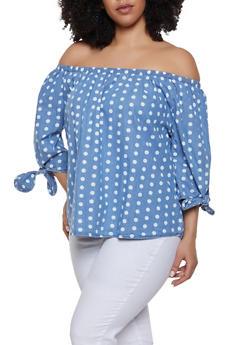 Plus Size Polka Dot Off the Shoulder Denim Top - 8407038342269