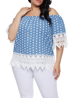 Plus Size Polka Dot Chambray Off the Shoulder Top - Blue - Size 1X - 8407038342962