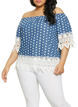Plus Size Polka Dot Chambray Off the Shoulder Top - 8407038342962