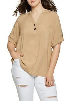 Plus Size Half Button Top - 8407051065709