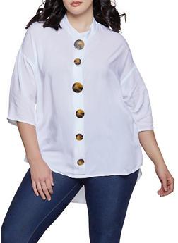 Plus Size Oversized Button Front Blouse - 8407051066001