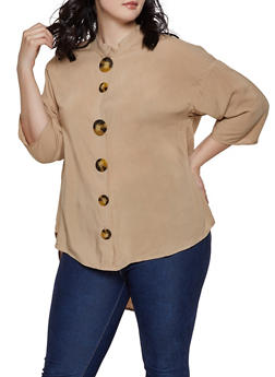 Plus Size Oversized Button Front Blouse - 8407051066001