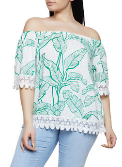 Plus Size Banana Leaf Print Off the Shoulder Top - 8407051066030