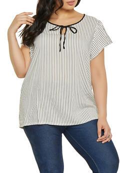 Plus Size Striped Contrast Tie Front Top - 8407051066071