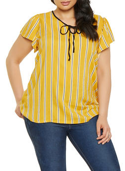 Plus Size Striped Contrast Tie Front Top - 8407051066071