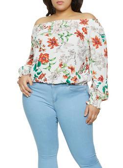 Plus Size Floral Off the Shoulder Smocked Trim Top - 8407054261273