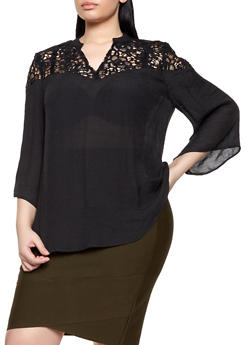 Plus Size Crochet Yoke Gauze Knit Top - 8407056120308