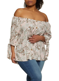 Plus Size Off the Shoulder Tropical Print Top - 8407056120612